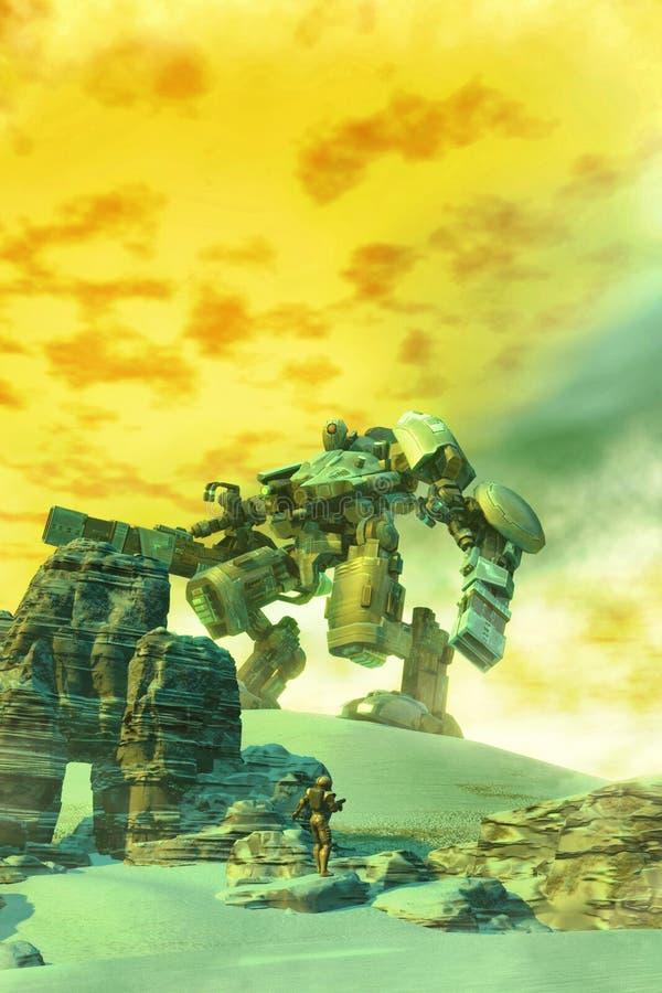 Robot y soldado gigantes stock de ilustración