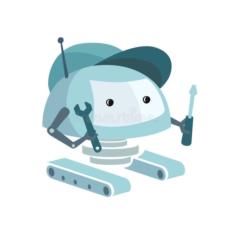 Robot z śrubokrętem i wyrwaniem ilustracja wektor
