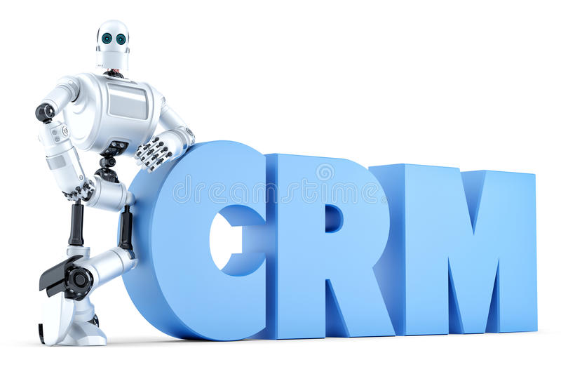 Robot z CRM znakiem błękitnawego biznesowego pojęcia delikatnego ostrości klawiaturowego laptopu luksusowa wisząca ozdoba nad tel ilustracja wektor