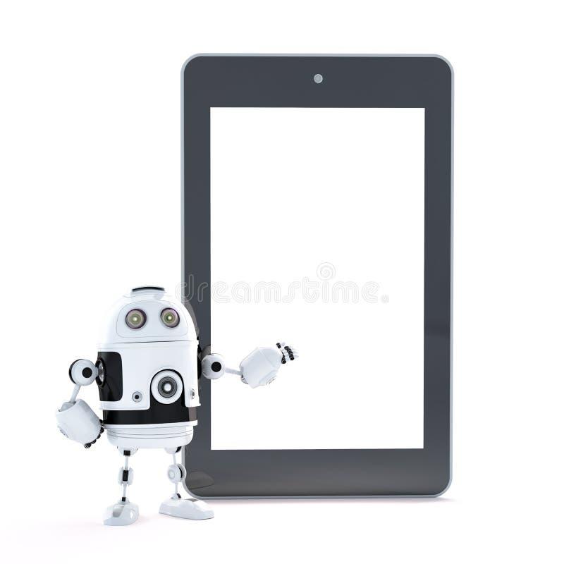Robot z dotyka ekranu pastylki komputerem osobistym z blanc ekranem ilustracja wektor