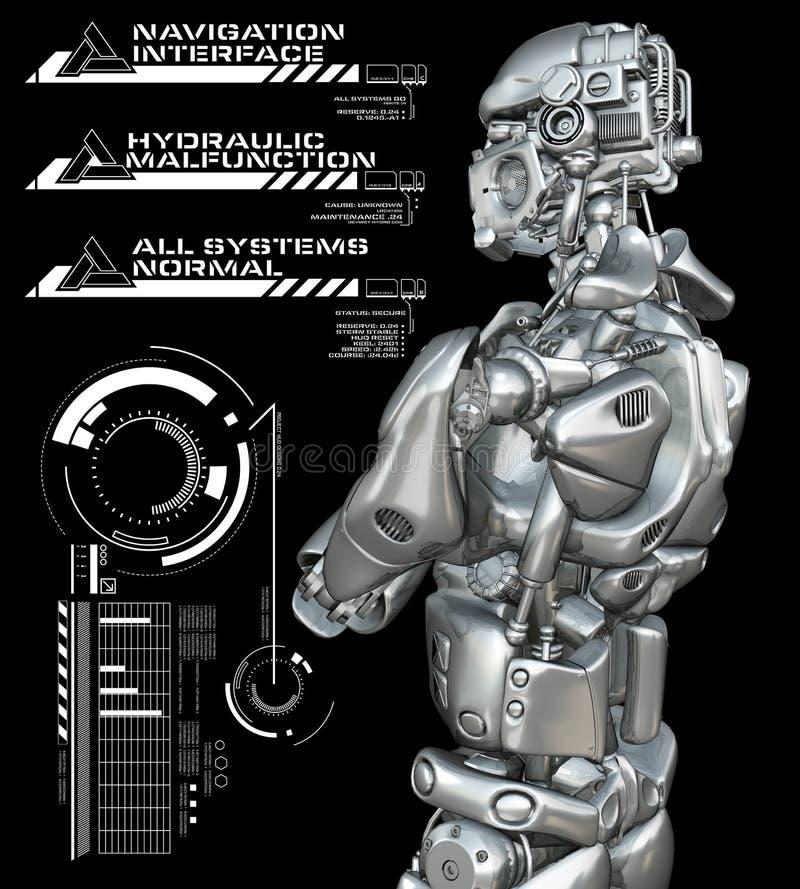 Robot z głowami up wystawia royalty ilustracja