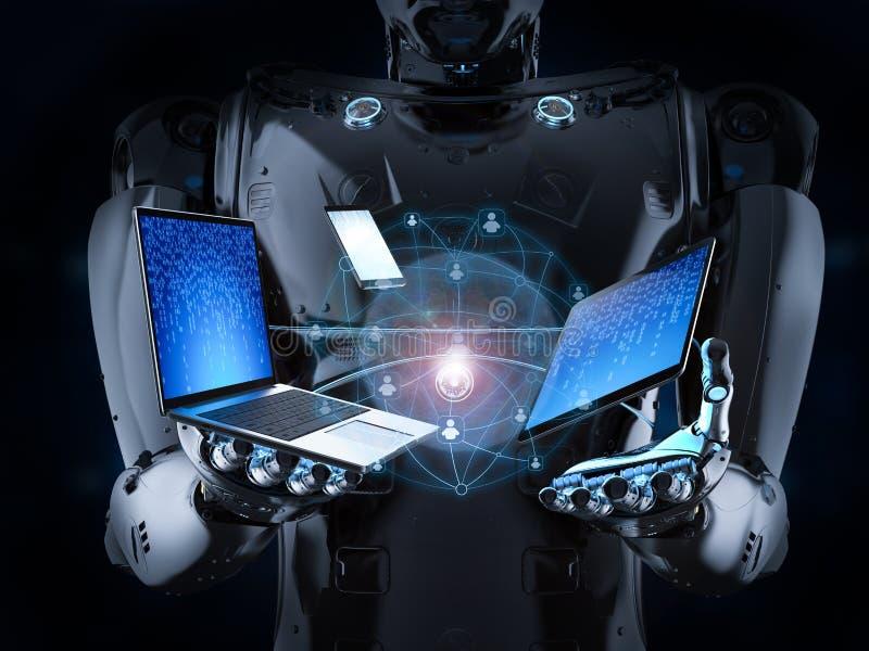 Robot z gadżetem royalty ilustracja