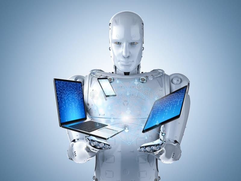 Robot z gadżetem zdjęcie stock
