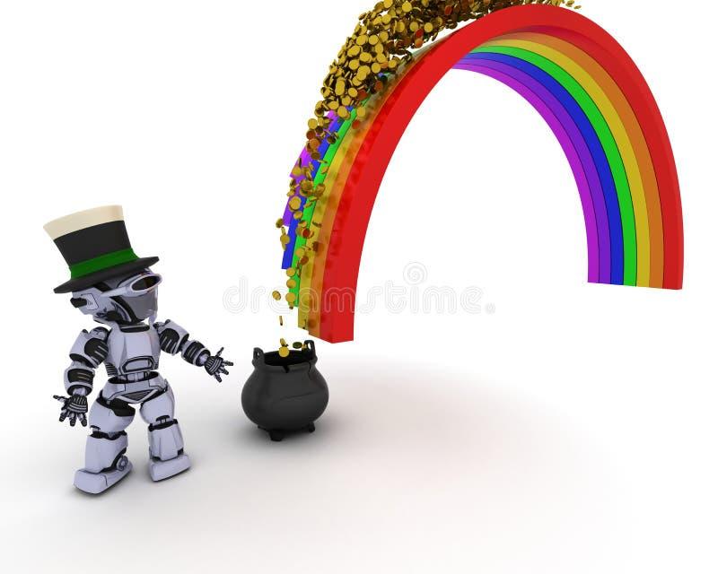 Robot z garnkiem złoto przy końcówką tęcza ilustracja wektor