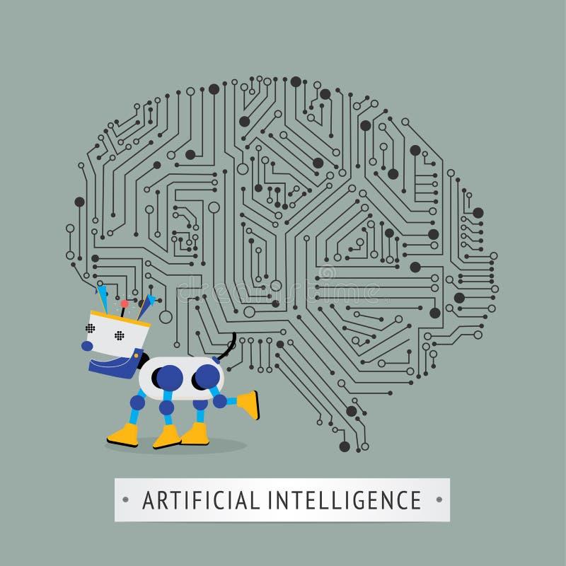 Robot z inteligenci sztucznym pojęciem royalty ilustracja