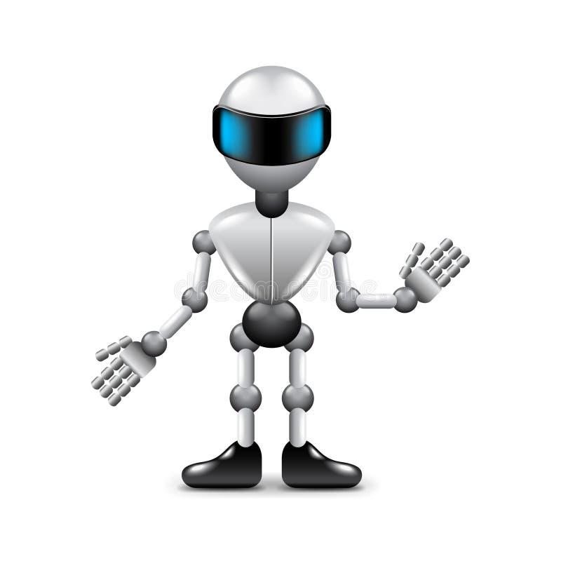 Robot z istot ludzkich rękami odizolowywać na białym wektorze ilustracja wektor