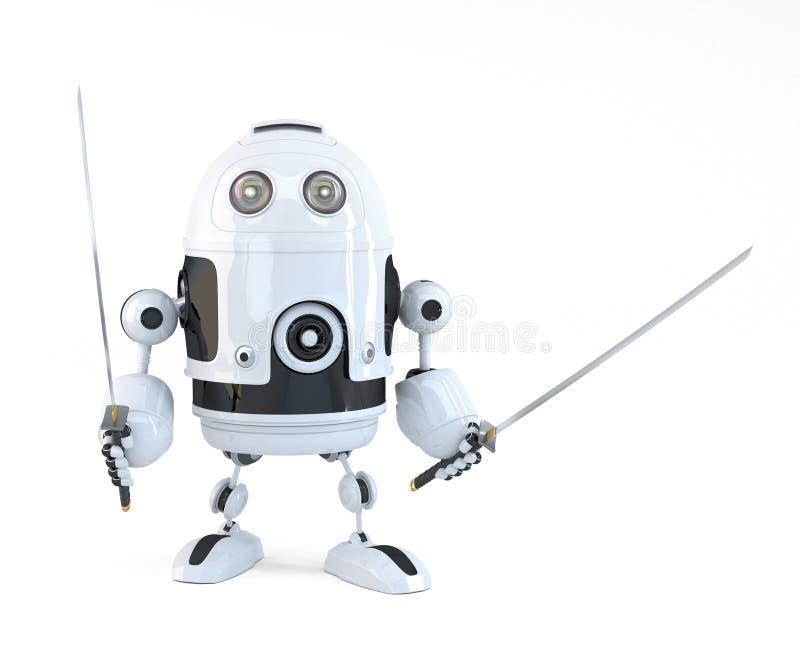 Robot z Kataną pojęcia odosobniony technologii biel Nad bielem Zawiera ścinek ścieżkę ilustracja wektor