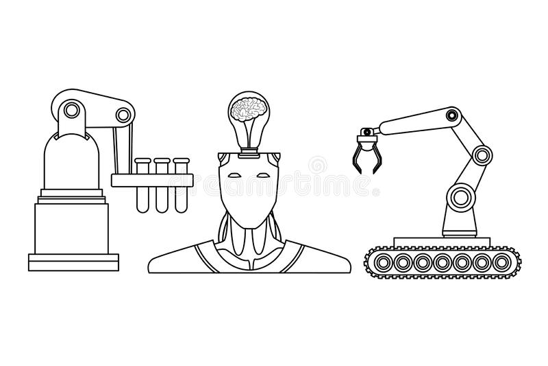 Robot z móżdżkowymi i mechanicznymi rękami czarny i biały royalty ilustracja