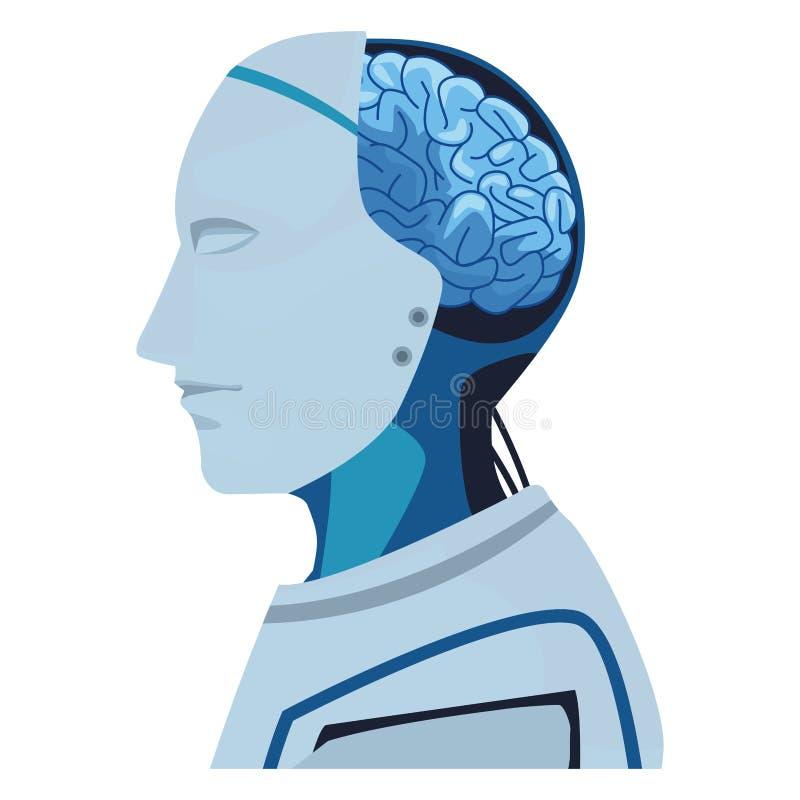 Robot z mózg wystawiającym royalty ilustracja