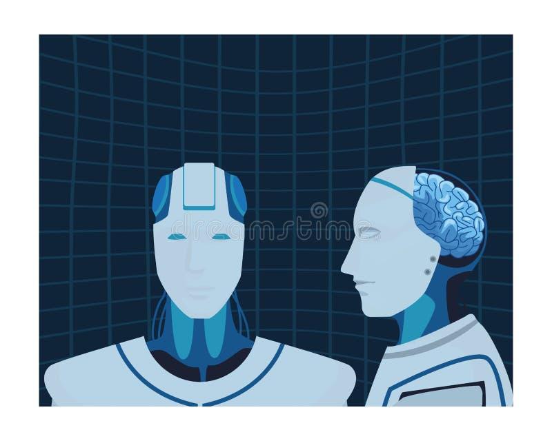 Robot z m?zg wystawiaj?cym royalty ilustracja