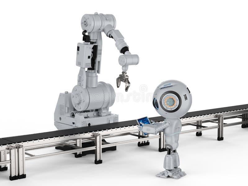 Robot z mechaniczną ręką royalty ilustracja