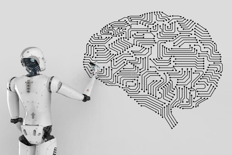 Robot z obwodu mózg royalty ilustracja