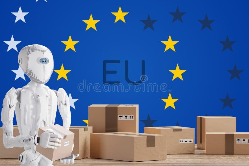 Robot z pakietem, sztuczna inteligencja na tle abstrakcyjnej flagi Europy 3d royalty ilustracja