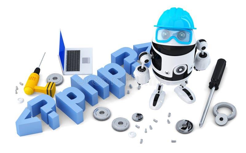 Robot z PHP znakiem pojęcia odosobniony technologii biel odosobniony Containsclipping ścieżka ilustracja wektor