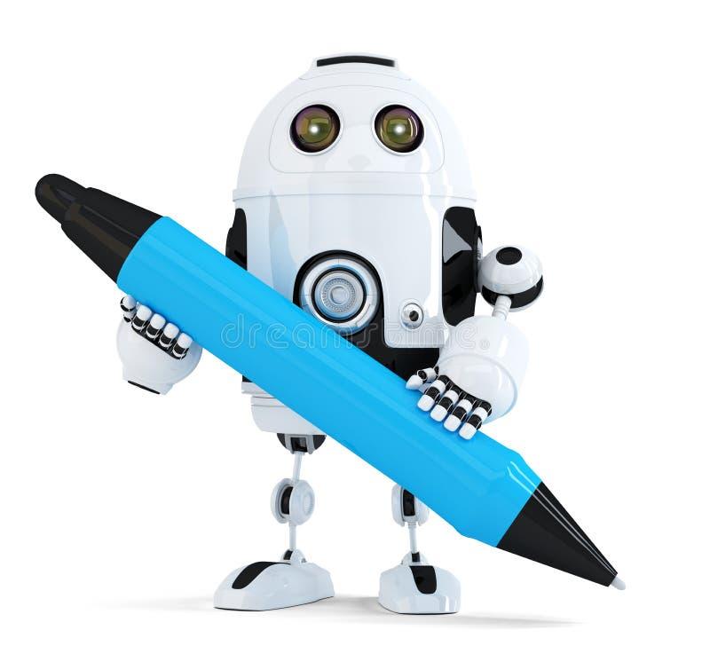 Robot z piórem Na biel Zawiera ścinek ścieżkę royalty ilustracja