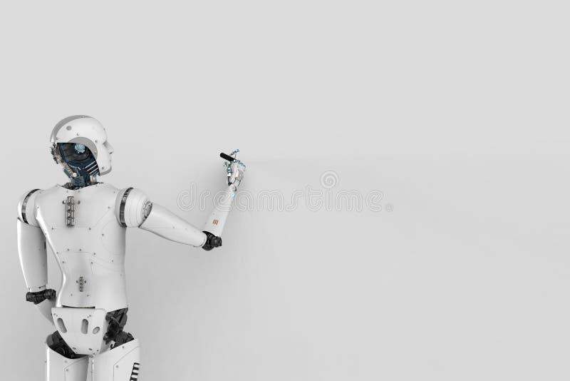 Robot z pustą ścianą ilustracja wektor