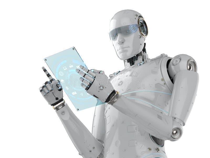 Robot z szklaną pastylką ilustracji
