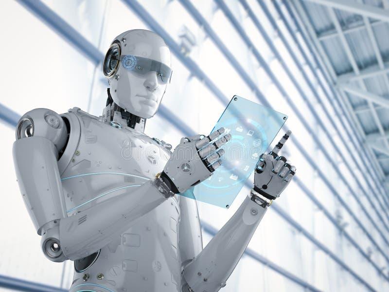 Robot z szklaną pastylką ilustracja wektor