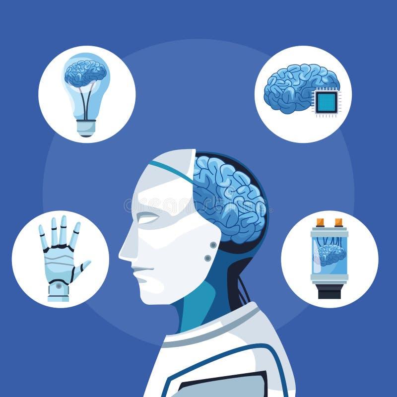 Robot z sztuczną inteligencją ilustracja wektor