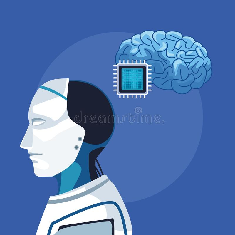 Robot z sztuczną inteligencją royalty ilustracja