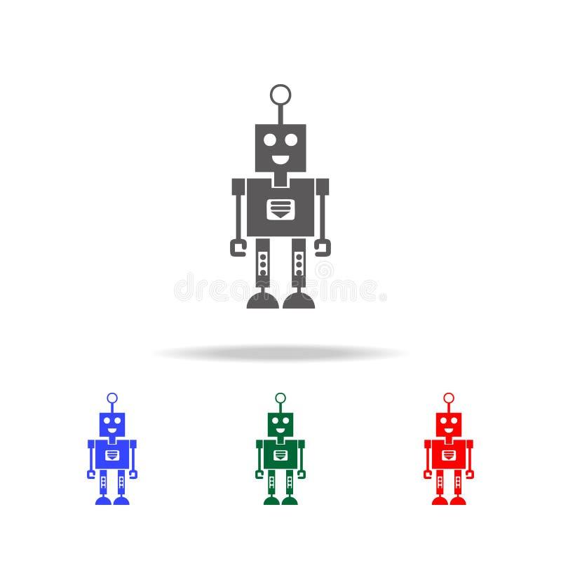 robot z uśmiechu ikonami Elementy roboty w wielo- barwionych ikonach Premii ilości graficznego projekta ikona Prosta ikona dla st ilustracja wektor