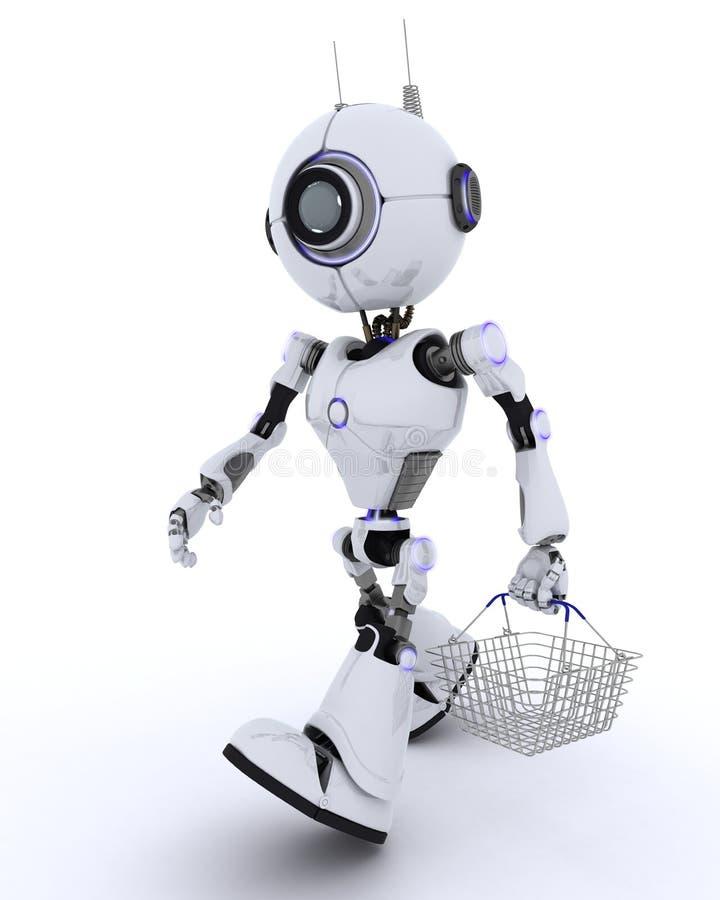 Robot z zakupy koszem ilustracja wektor