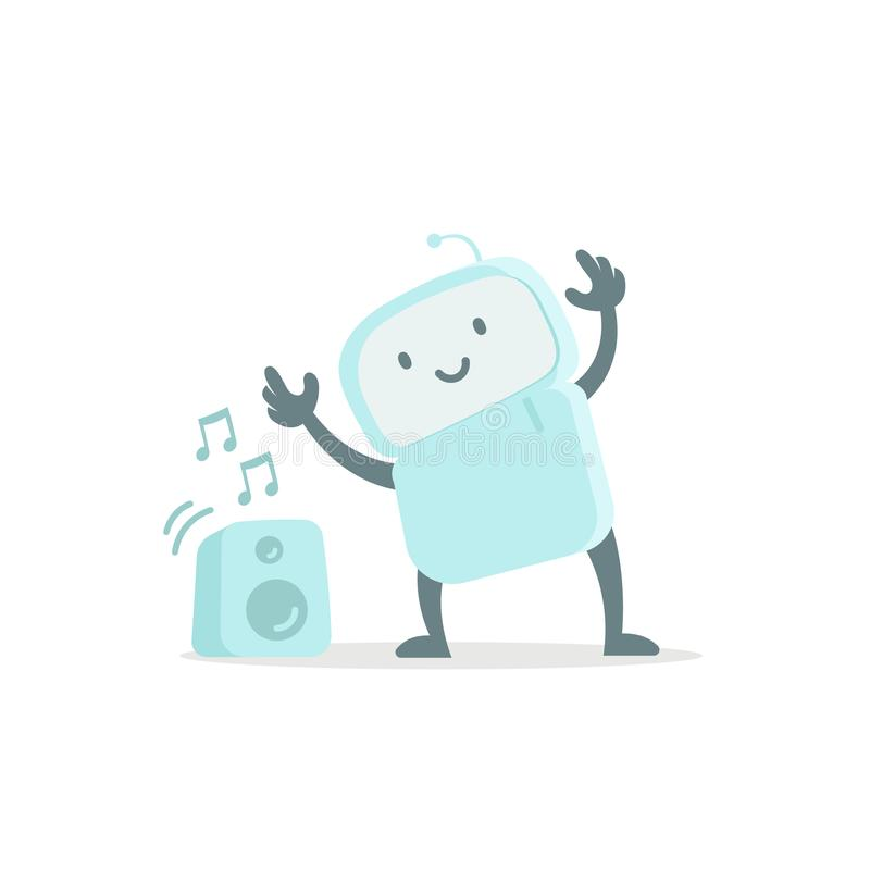 Robot zabawka słucha muzyka i tanczy Śliczna mała nowa emoji majcheru ikona Bardzo śliczny dla dziecko dzieciaka audio Ty jesteś ilustracji