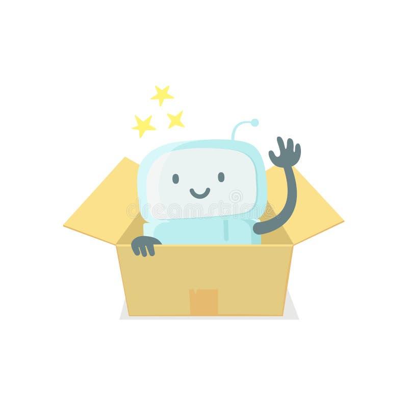 Robot zabawka w pudełku Śliczna mała nowa emoji majcheru ikona Bardzo śliczny dla dziecko dzieciaka niespodzianki pudełka Ty jest ilustracja wektor