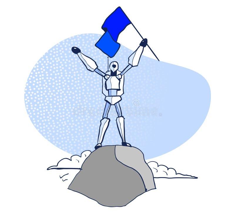 Robot, zwycięzca, Odosobniona wektorowa ilustracja ilustracji
