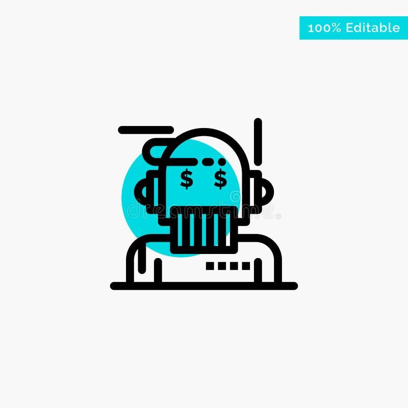 Robota Advisor, doradca, Advisor, algorytm, analityk głównej atrakcji okręgu punktu wektoru turkusowa ikona ilustracji