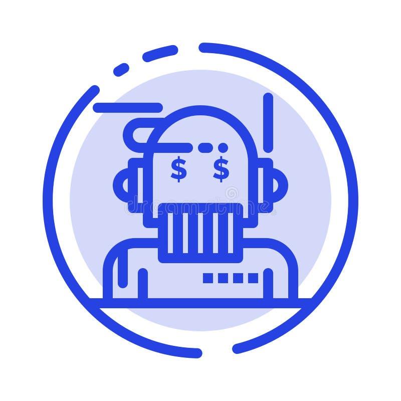 Robota Advisor, doradca, Advisor, algorytm, analityk linii linii błękit Kropkująca ikona ilustracja wektor