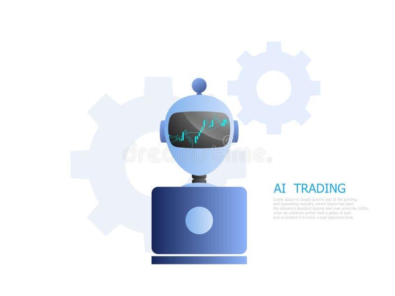 Robota ai handel dla zapasu i rynki walutowi wprowadzać na rynek royalty ilustracja