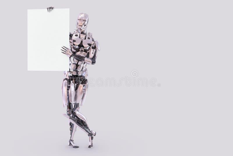 Robota androidu cyborga męska pozycja i mienia pusty papierowy mockup ciąć na arkusze reklamowy pojęcie elementy projektu podobie ilustracja wektor