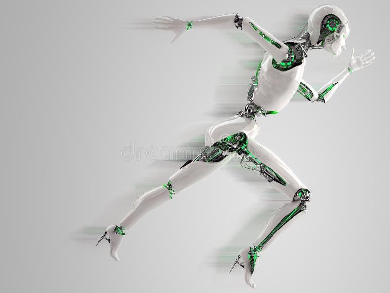 Robota androidu kobiety bieg ilustracji