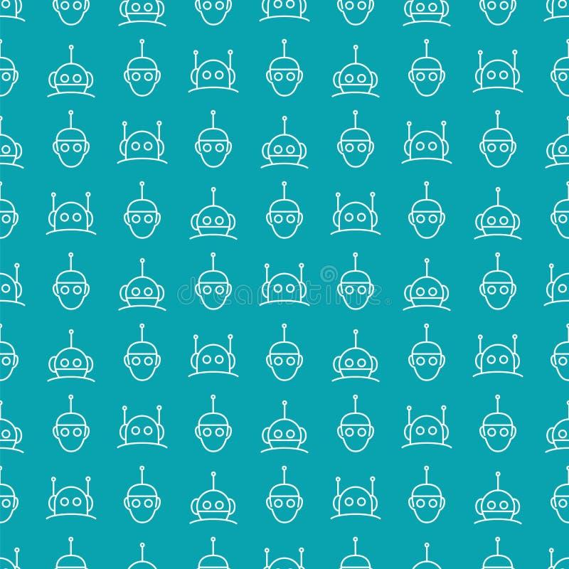 Robota bezszwowy wzór na błękitnym tle ilustracji