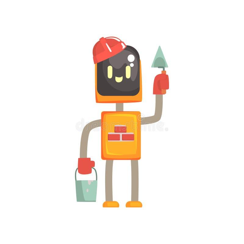 Robota buider charakter, android pozycja z kielnią i wiadro kreskówki wektoru ilustracja, ilustracja wektor