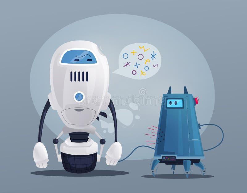 Robota charakter Technologia, przyszłość obcy kreskówki kota ucieczek ilustraci dachu wektor royalty ilustracja