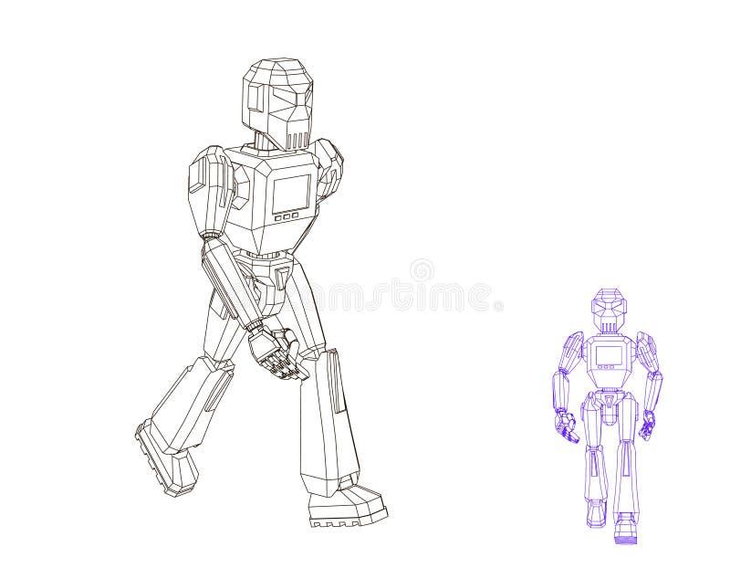 Robota charakteru odprowadzenie Wektorowa kontur ilustracja royalty ilustracja