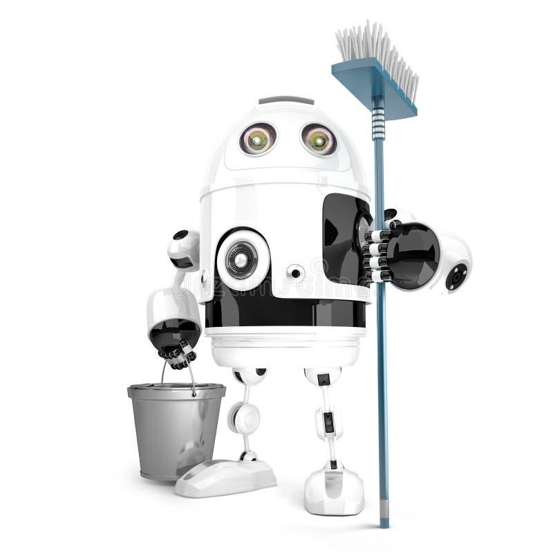 Robota cleaner z kwaczem i wiadro w jego ręki odosobniony Zawiera ścinek ścieżkę royalty ilustracja