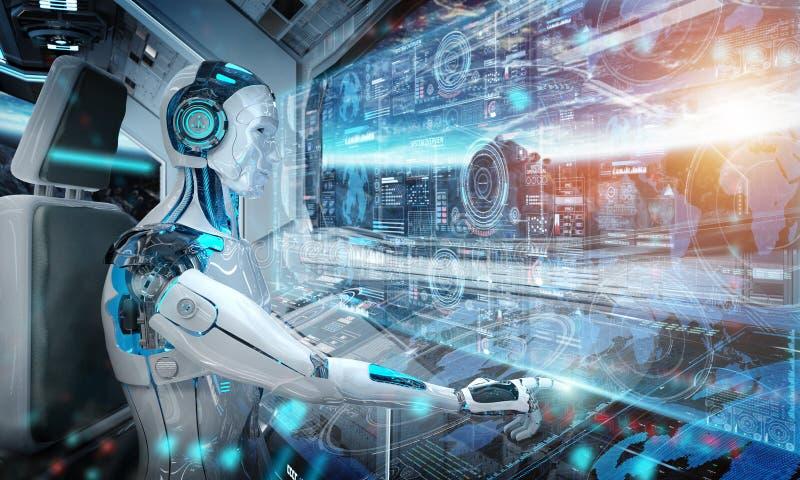 Robota cyborg lata białego nowożytnego statek kosmicznego z nadokiennym widokiem na astronautycznym i cyfrowym wykresu 3D renderi ilustracji