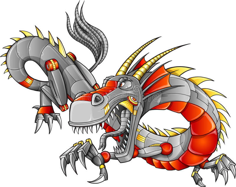 Robota cyborga smoka wektor royalty ilustracja