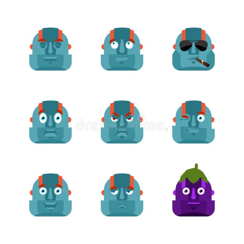 Robota emoji ustalony avatar smutna i gniewna twarz winny i dosypianiu ilustracja wektor