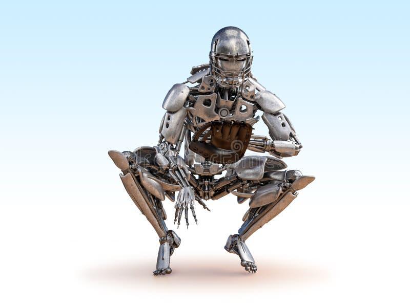 Robota gracz baseballa łapacz Cyborga robota sztucznej inteligencji technologii pojęcie ilustracja 3 d royalty ilustracja