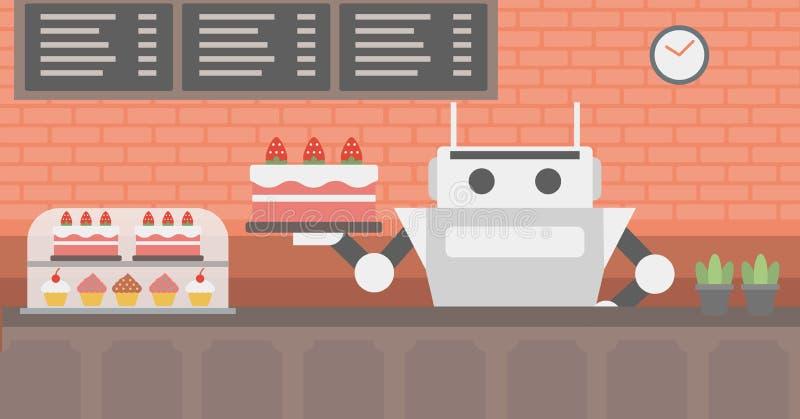 Robota kelner pracuje przy ciasto sklepem royalty ilustracja
