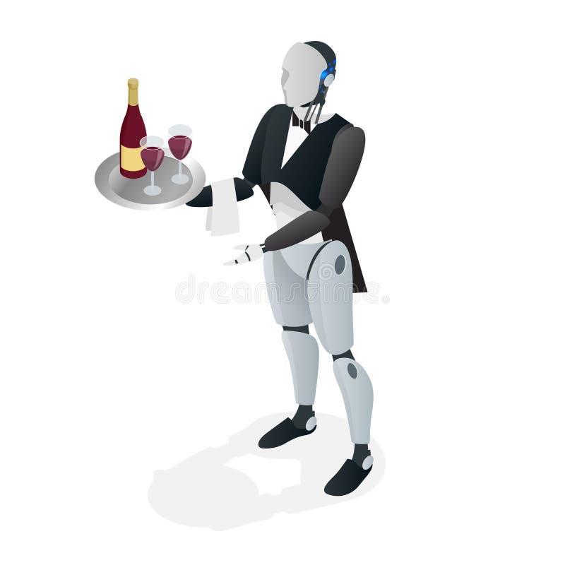 Robota kelner trzyma w smokingu, rękawiczki i i Restauracyjny pojęcie Płaski isometric wektor ilustracja wektor