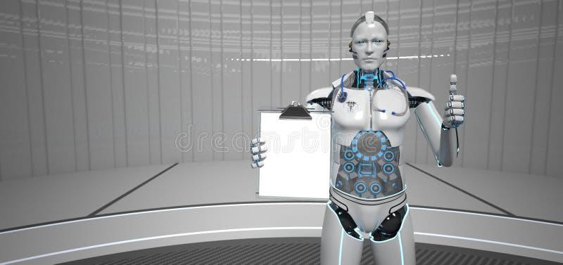Robota Medycznego asystenta schowka Ok ilustracji