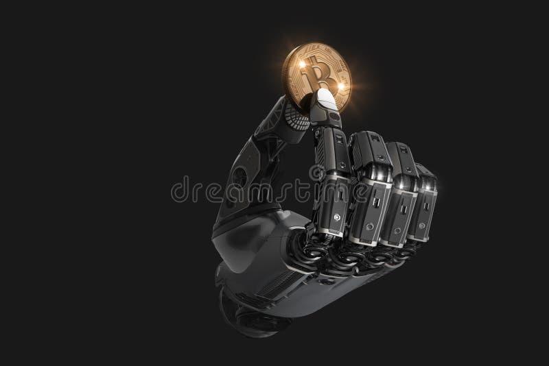 Robota mienia bitcoin z palcami w machinalnej ręce ilustracja wektor