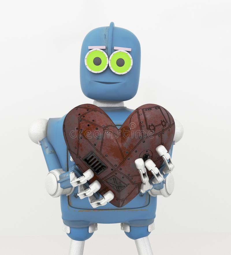 Robota mienia serce, metalu serce, 3d odpłaca się royalty ilustracja