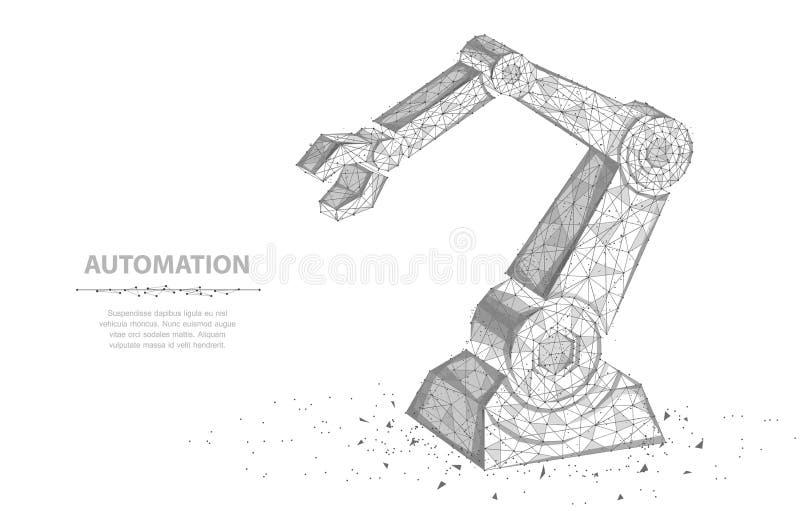 Robota motyl i ręka Abstrakcjonistyczna 3d wireframe robota ręka odizolowywająca na bielu ilustracji