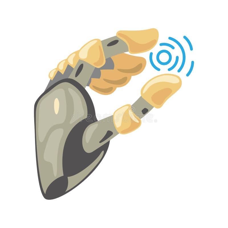 Robota motyl i ręka Machinalnej technologii inżynierii maszynowy symbol gest ręką Wp8lywy znak Energia między palcami ilustracja wektor